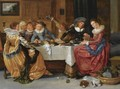 An Elegant Merry Company, Seated Around An Abundantly Laid Table, Drinking, In A Richly Decorated Interior - Hendrick Gerritsz Pot