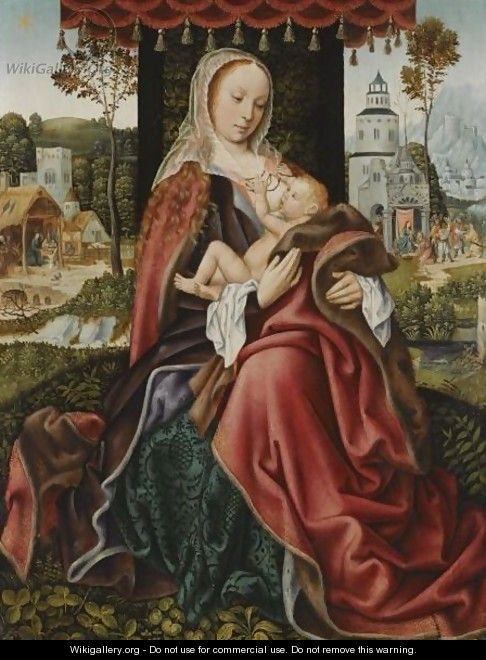 The Virgin And Child In A Landscape Setting - Master Of Frankfurt