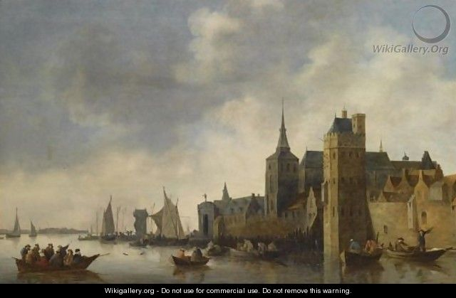 A River Landscape With Fishermen In Small Vessels Near The City Of Antwerp, With A Church Tower On The Right, Sailing Boats In The Background - (after) Jan Van Goyen