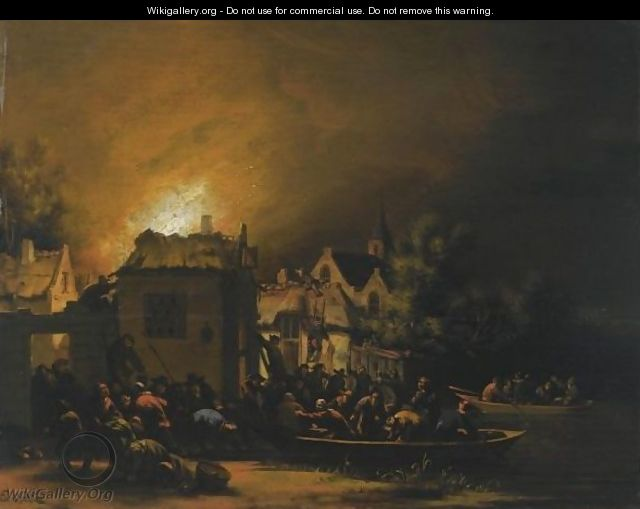 A Fire In A Village At Night With Villagers Trying To Extinguish It - Egbert Lievensz. Van Der Poel