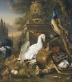 A Still Life With A Peacock, A Swan, A Deer, A Dog, A Monkey, A Pheasant And Other Game Birds - (after) Jan Weenix