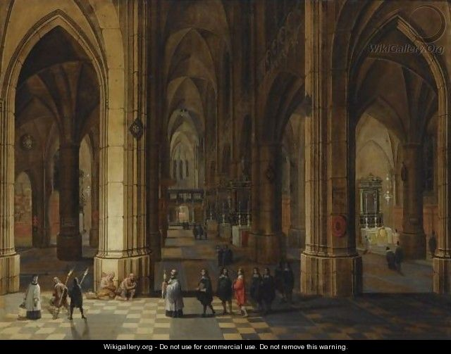 A Church Interior Of The Cathedral Of Antwerp With A Procession In The Foreground And Beggars Seated To The Left - Pieter the Younger Neefs