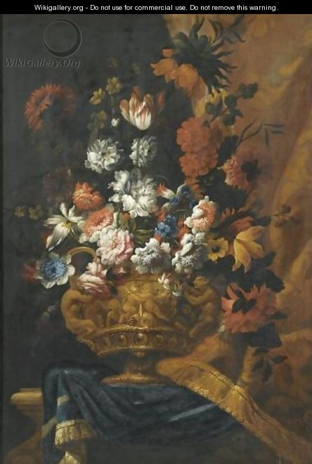 Still Life With Flowers In An Elaborate, Sculpted Bronze Urn, Resting On A Stone Ledge - (after) Pieter Casteels III