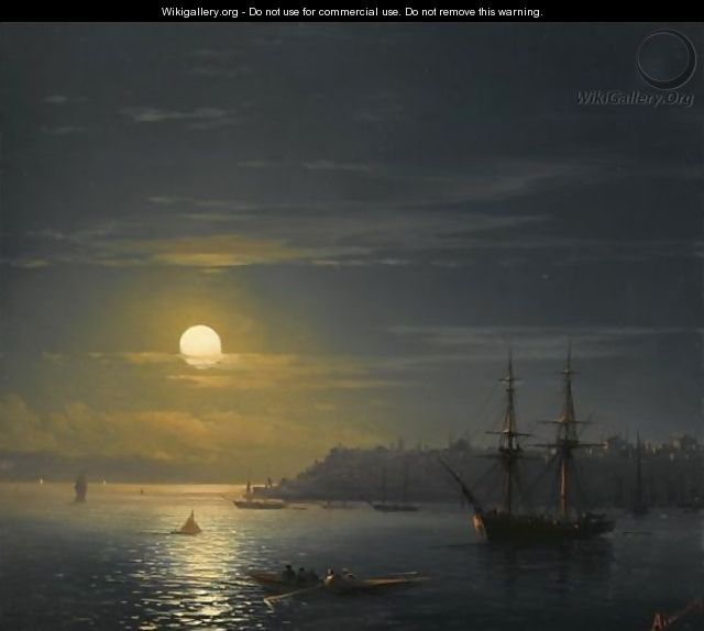 View Of Constantinople In Moonlight - Ivan Konstantinovich Aivazovsky