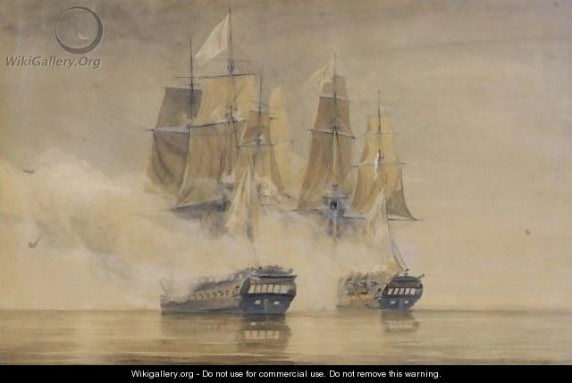 Action Between H M S  Amethyst And The French Frigate Thetis