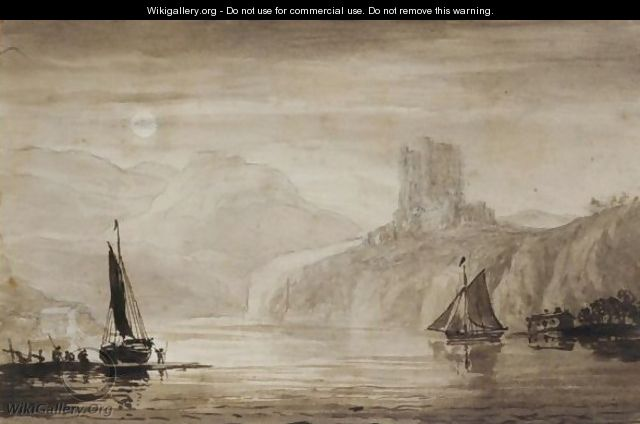 Boats On The River Tweed, Overlooked By Norham Castle - John Christian Schetky