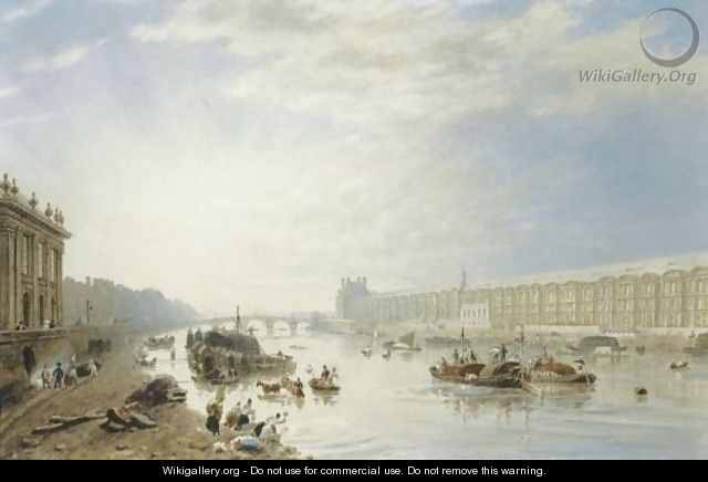 The Seine, Looking Towards The Louvre And The Pont Royal - Frederick Nash