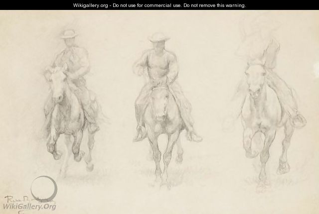 Study Of Three Men On Horseback (Possibly From The American West) - Rosa Bonheur