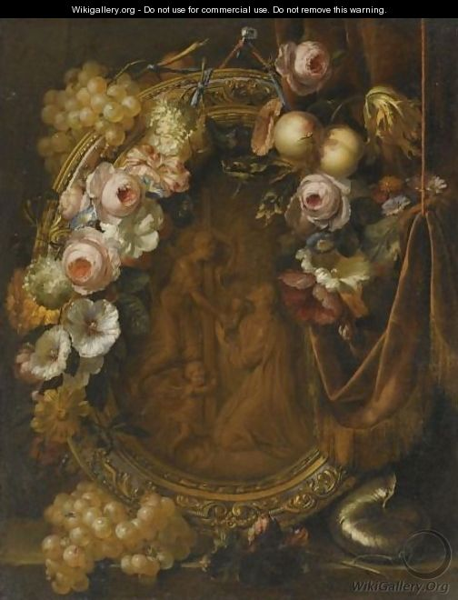 Still Life With A Garland Of Fruit And Flowers Adorning A Bronze Relief Of The Agony In The Garden - Heroman Van Der Mijn