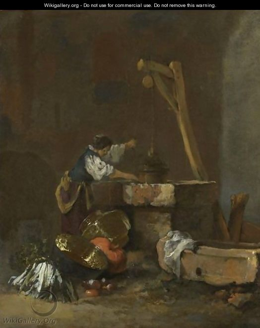 A Woman Pulling Water From A Well, A Pile Of Vegetables At Her Feet - Willem Kalf