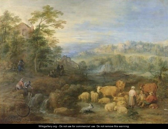 A Summer Landscape With Shepherds And Herdsmen Resting Their Sheep And Cattle By A Stream - Theobald Michau