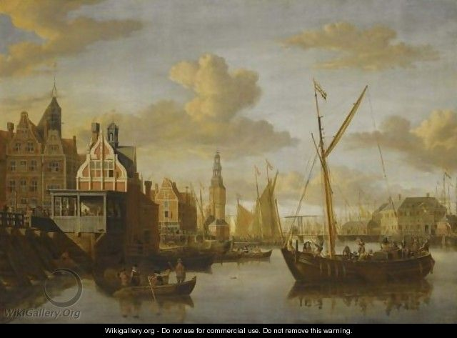 A View Of Amsterdam,with The Paalhuis At The Nieuwe Brug Over The Damrak In The Foreground - Jacobus Storck