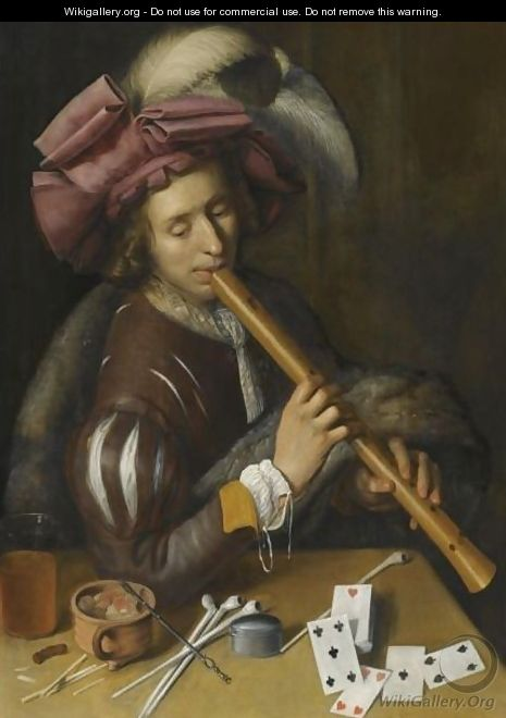 A Young Man Playing The Flute, Before A Table Set With Various Smoking Implements And A Deck Of Cards - South Netherlandish School