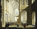 The Interior Of A Gothic Cathedral, With Numerous Elegant Figures, And Women Listening To A Bible Reading - Dirck Van Delen