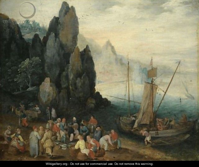 A Rocky Coastal Landscape With Fishermen Unloading Their Catch, Craggy Mountains Beyond - (after) Jan The Elder Brueghel