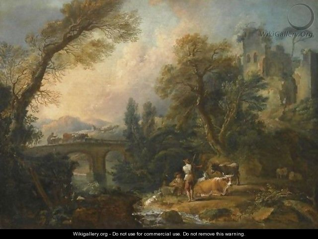 A Pastoral Landscape With Herders And Their Animals Resting Beside A River, A Bridge Beyond - Nicolas Jacques Julliard