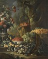 An Upturned Basket Of Figs, Together With Apricots, Other Fruit And Flowers In A Landscape Setting - Baldassare de Caro