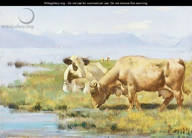 Cows At Lakeshore - Ferdinand Hodler