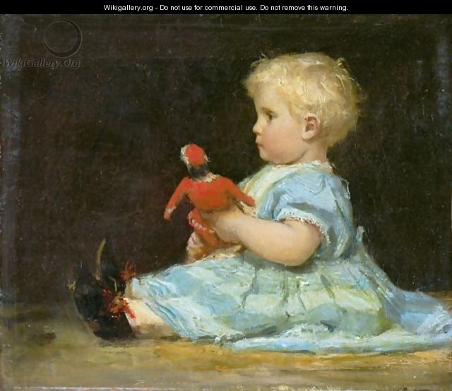 Marie Anker With Doll, 1873 - Albert Anker