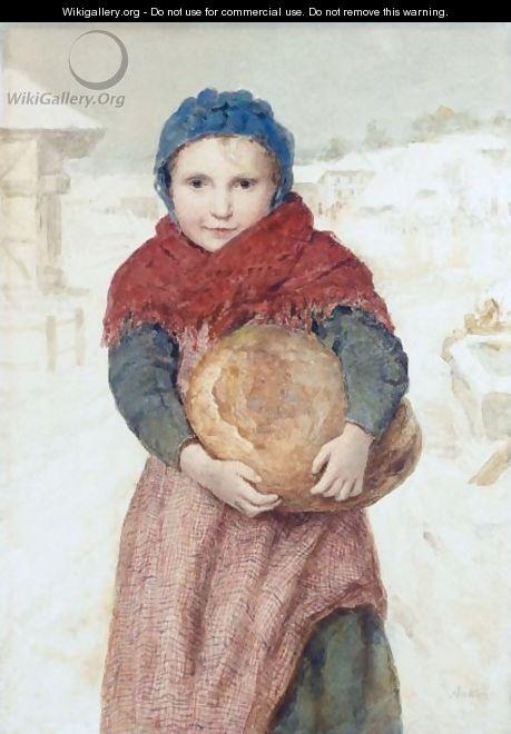 Girl With Loaf Of Bread - Albert Anker