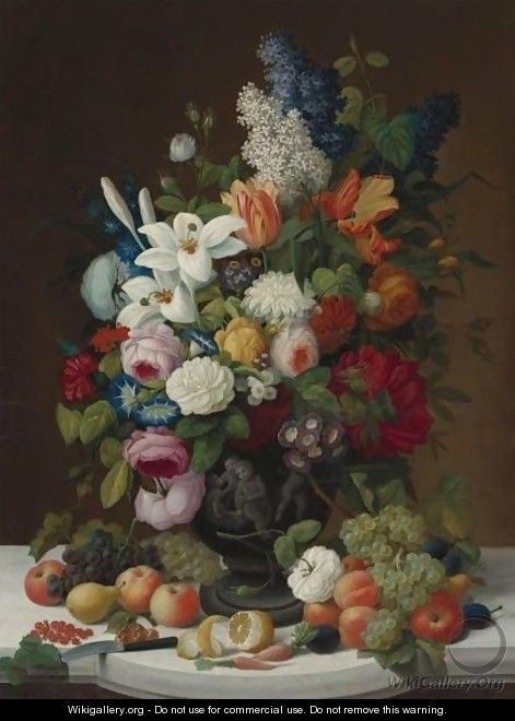 Still Life With Flowers And Fruit - Severin Roesen