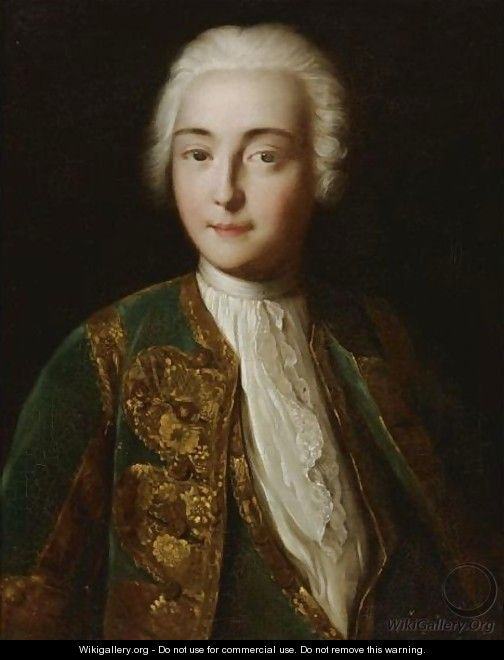 Portrait Of A Young Man In A Powdered Wig - (after) Pietro Antonio Rotari