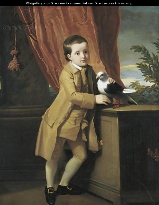 Portrait Of A Young Boy Standing On A Portico With His Pet Pigeon - (after) Copley, John Singleton