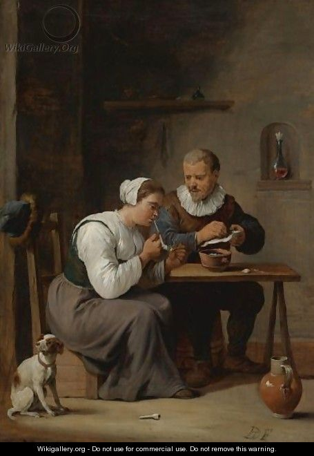 Interior With A Man And Woman Seated At A Table, The Woman Lighting A Pipe - (after) David The Younger Teniers