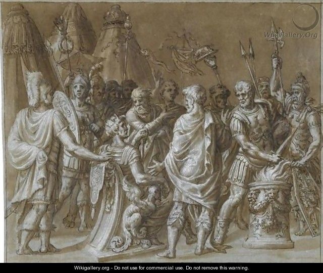 A Gathering Of Roman Soldiers With A King Seated On A Throne - Roman School