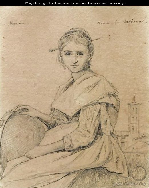 Portrait Of Rosa Holding A Tambourine, A Church In The Background - Jean-Baptiste-Camille Corot