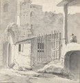 An Italian Courtyard With A Gateway And Seated Figure - Thomas Wyck