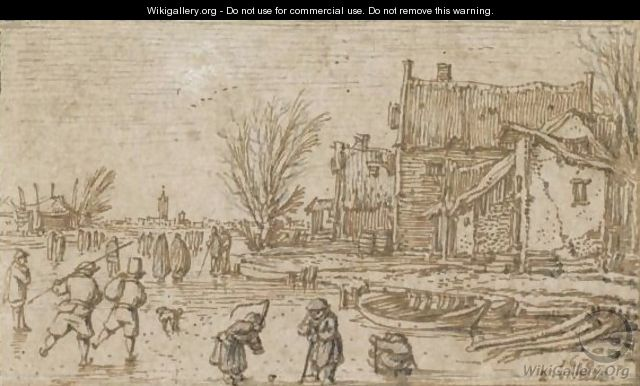 Skaters On A Frozen River - Esaias Van De Velde