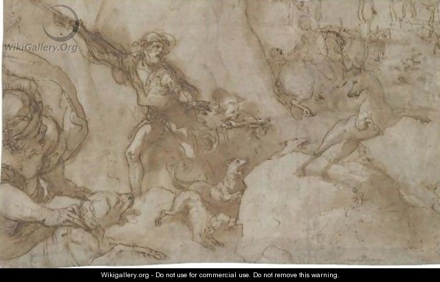 Hunting Scene Design For A Stage Curtain - Federico Zuccaro