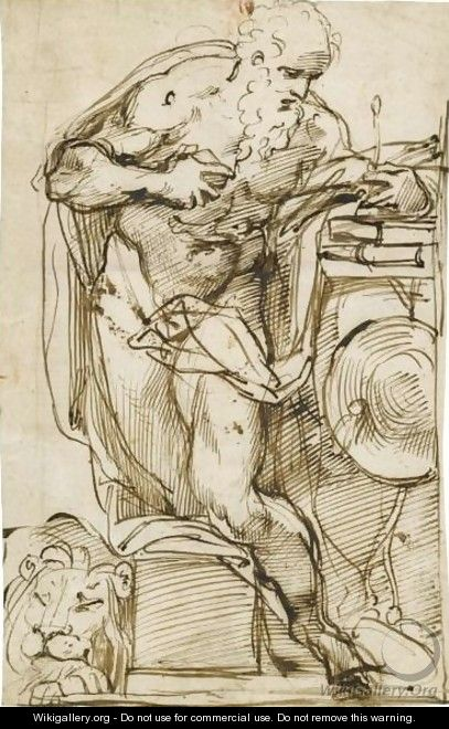 St Jerome In His Study - Agostino Carracci