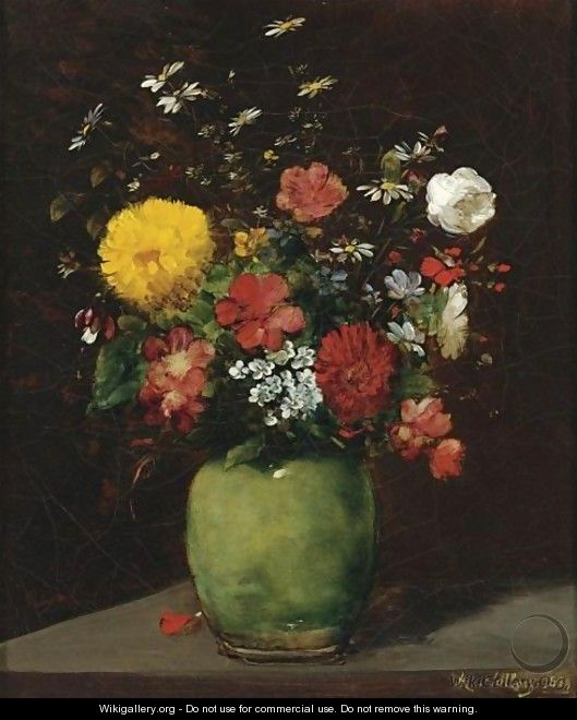 Spring Flowers In A Green Vase - Antoine Vollon