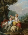 A Young Shepherd And Shepherdess Seated In A Pastoral Landscape - (after) Jean-Baptiste Huet I