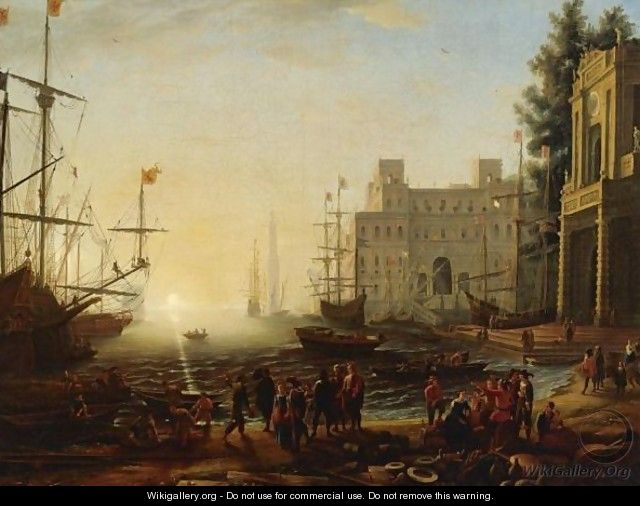 Bustling Port With The Villa Medici - (after) Claude Lorrain (Gellee)