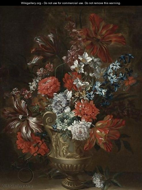Still Life Of Tulips, Peonies, Narcissus And Other Flowers In A Sculpted Vase - (after) Pieter Casteels III