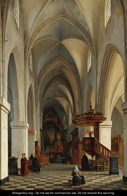 Interior Of A Cathedral - Hyppolyte Victor Valentin Sebron