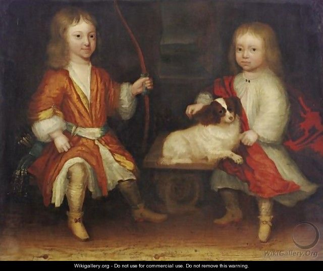 Portrait Of Two Children With Their Dog - Dutch School