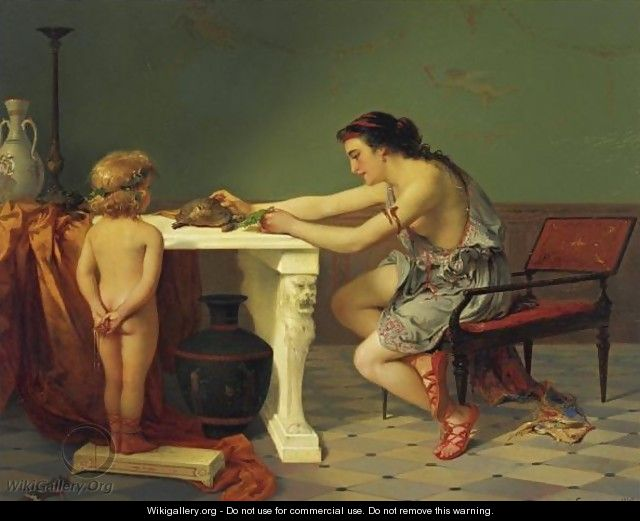 Feeding The Turtle - Pierre Oliver Joseph Coomans