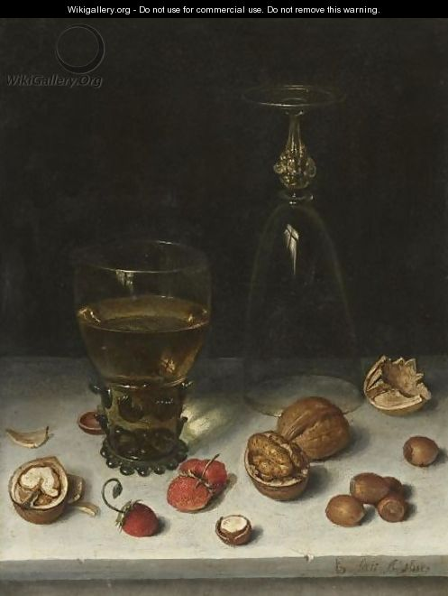 Still Life Of Walnuts, Hazelnuts, Strawberries, A Roemer And An Overturned Wine Glass, All Resting On A Table - Floris Claesz Van Dijck