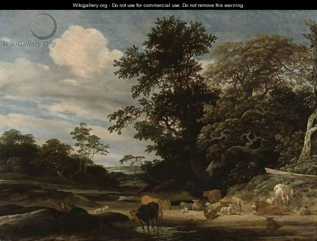 Wooded Landscape With Herd Animals Resting By A Pond - Jacob Salomonsz. Ruysdael