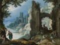 Figures In A Landscape With Ruins - Paul Bril