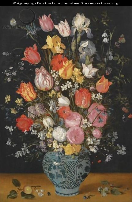 Still Life With Tulips, Roses, Lilies, Irises, Poppies, Hyacinths And Other Flowers In A Blue And White Delft Porcelain Vase - Jan, the Younger Brueghel