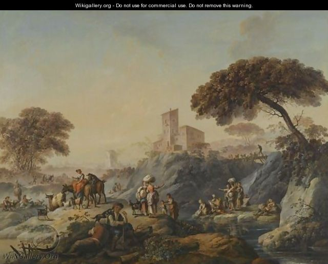 A Southern Landscape With Figures Beside A Stream - Joaquim Marques