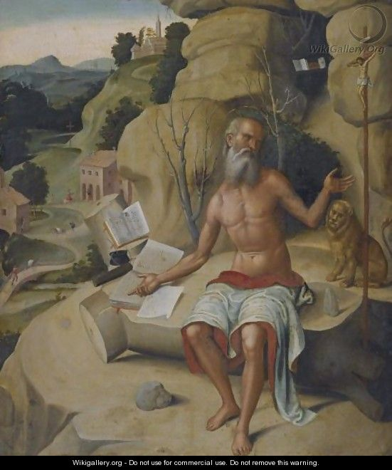 Saint Jerome, Seated On A Rock Before An Extensive Landscape - (after) Marco Palmezzano