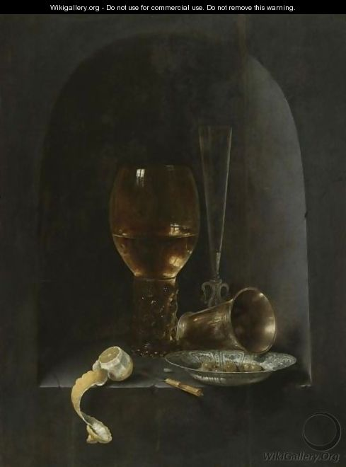 Still Life With A Roemer A Fluted Wine Glass A Silver