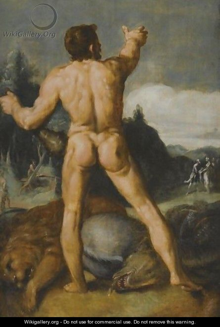 Hercules Slaying The Lion - Cornelis Cornelisz Van Haarlem
