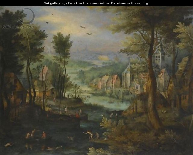 A River Landscape With Figures Bathing And A Village Beyond - (after) Jan The Elder Brueghel